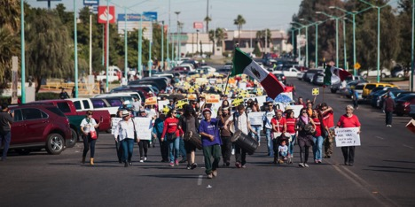 Mexicali Resiste protesters marching